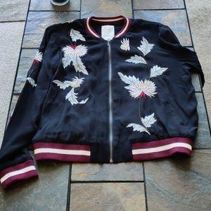Elevenses Floral Embroidered Bomber Jacket M Blue